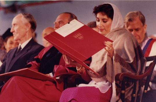 During her first term as prime minister, Harvard alumna Benazir Bhutto spoke at the university's June commencement in 1989. She was a frequent visitor to the Boston area.