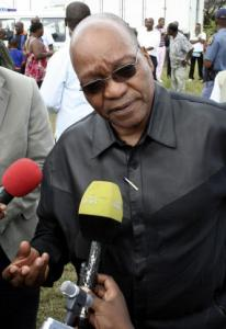 Jacob Zuma, newly elected president of the ruling African National Congress, at a seasonal event yesterday in Durban. His lawyer accused the country's National Prosecuting Authority and its elite FBI-style Scorpions unit of trying to smear Zuma.