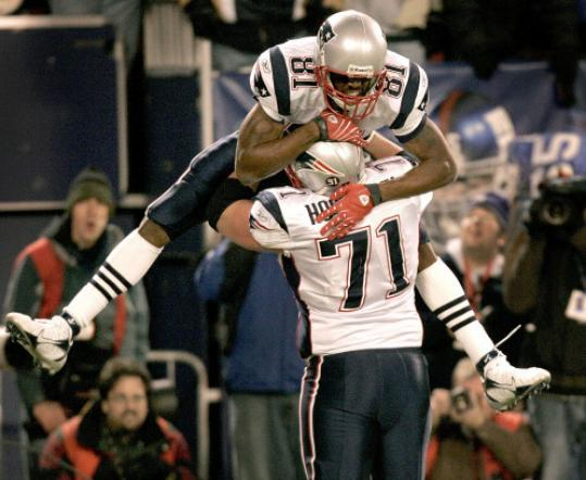 Randy Moss's celebration with Russ Hochstein was deemed excessive.