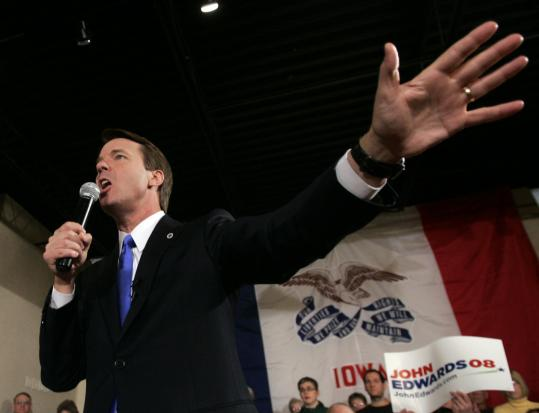 Former senator John Edwards of North Carolina campaigned yesterday in Boone, Iowa. The Iowa caucuses will be held Thursday, and the New Hampshire primaries are just five days later.