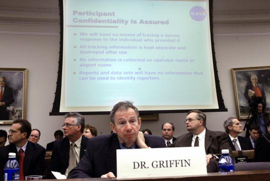 NASA administrator Michael Griffin prepared to testify before the House Science and Technology Committee last October. After criticism, he promised to release the report on safety.