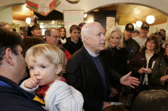 John McCain, Republican of Arizona, spoke yesterday at Joe's Meat Shoppe in North Hampton, N.H.