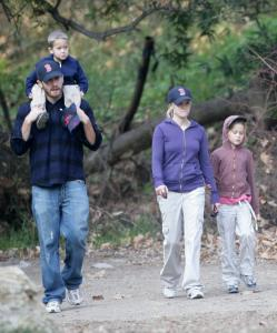 Jake Gyllenhaal and Reese Witherspoon take a walk with her children in Malibu, Calif.