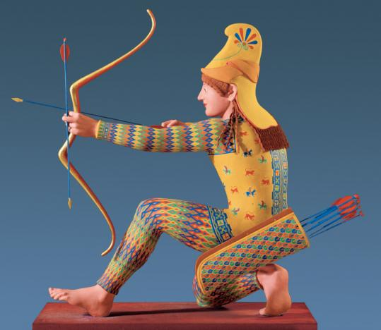 A Trojan archer is one of 20 reconstructions on display in 'Gods in Color' at Harvard's Sackler Museum.