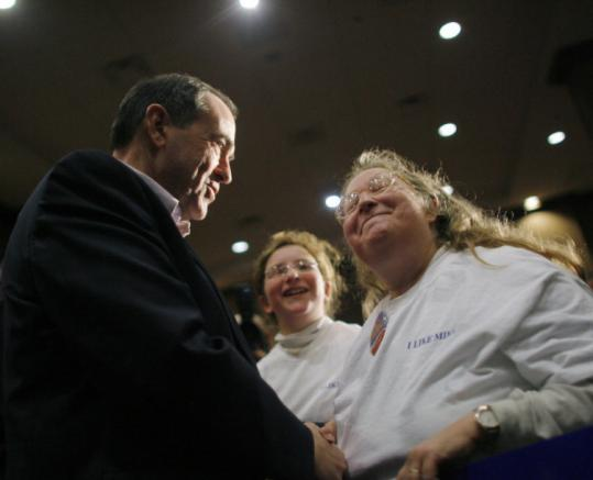 Republican presidential candidate and former governor Mike Huckabee of Arkansas greeted supporters yesterday in Burlington, Iowa, before his big victory in the caucuses.