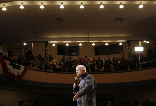Senator John McCain spoke yesterday at a town hall meeting in Derry, N.H. After landing at the Manchester airport, he declared 'we will win' the primary.