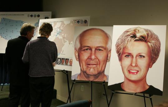 Renderings of what James Bulger and Catherine Greig might have looked like about 10 years after disappearing from Boston were displayed by the task force assigned to track the gangster.
