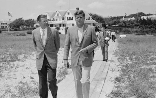 President John F. Kennedy walks with Secretary of Defense Robert McNamara in Hyannis Port on July 8, 1961. The Cape's rising age can be blamed partly on the shorelines and landscapes that draw visitors.