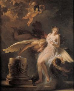 An oil on canvas depiction of 'The Sacrifice of the Rose' is one of the works by Fragonard on display in 'Consuming Passion' at Clark Art Institute.