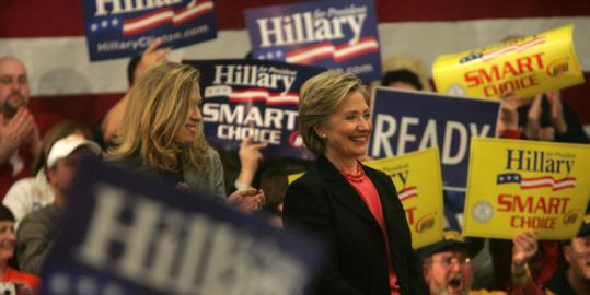 Hillary Clinton arrived to a packed rally at Winnacunnet High School in Hampton, N.H., last night.