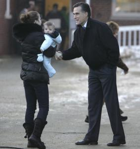 Mitt Romney greeting a voter