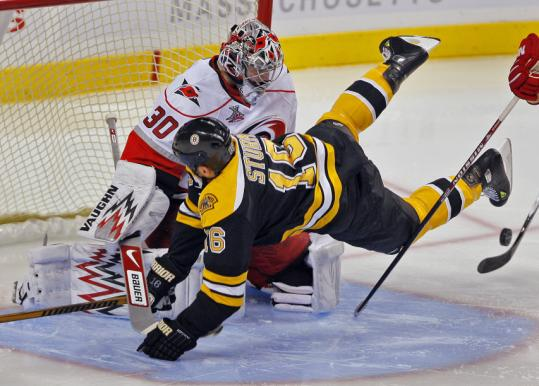 Bruins winger Marco Sturm posed more of a threat to Hurricanes goaltender Cam Ward during the second period than did the puck.