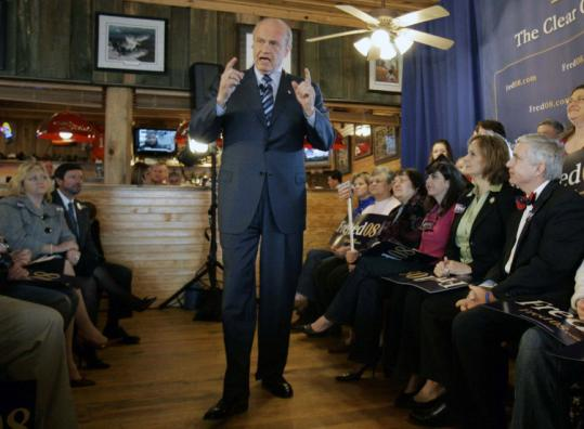 Polls in South Carolina are mixed for Fred Thompson, who spoke at Hudson's Smokehouse in Lexington, S.C., yesterday.