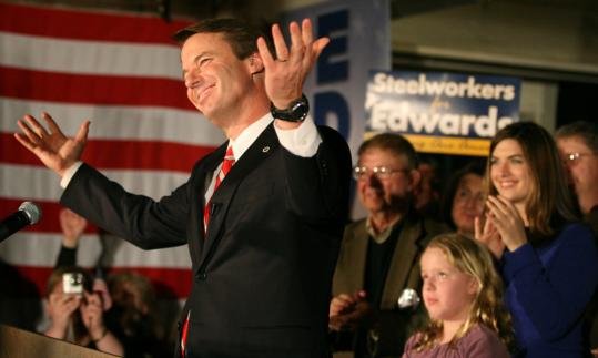Former senator John Edwards accepted his third-place finish last night in Manchester but vowed he would stay in the race 'until we have actually restored the American dream.'