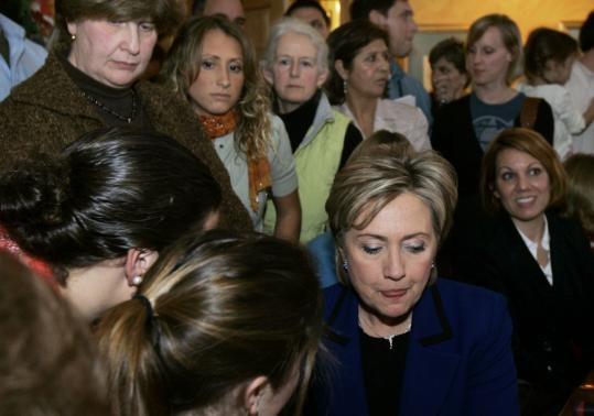 Hillary Clinton spoke to voters Monday after she became emotional while answering a question from a voter in Portsmouth, N.H. The display was the latest in a string of famous New Hampshire moments, all revealing some inner truth about the candidates.