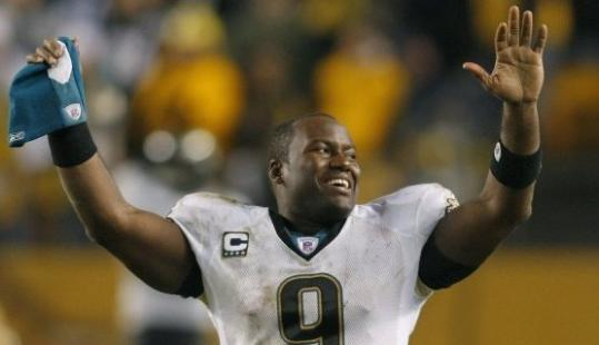 Quarterback David Garrard celebrates the Jaguars' playoff victory over Pittsburgh.