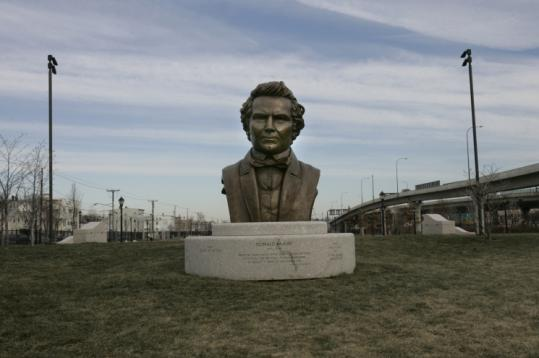 A half-ton bronze bust of shipbuilder Donald McKay is the centerpiece of the recently completed Bremen Street Park.