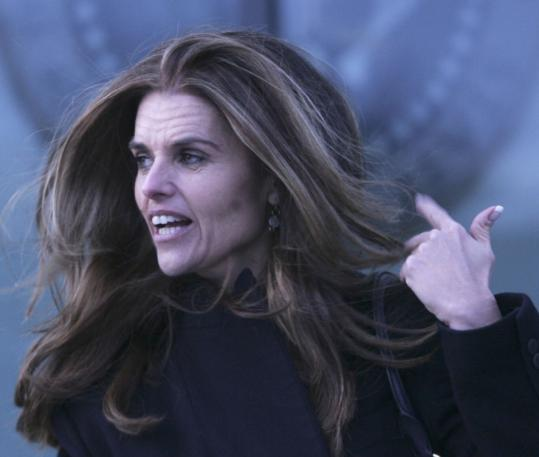 Maria Shriver speaks outside the JFK Library yesterday afternoon after a screening of 'American Idealist.'