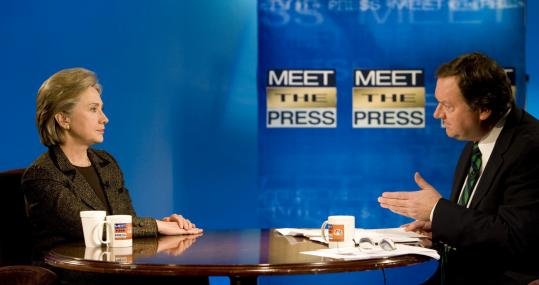 Senator Hillary Clinton sought to defend her comments about Martin Luther King Jr. on 'Meet the Press' with Tim Russert yesterday. Her Democratic rival Barack Obama criticized her for 'talking . . . about my record in a way that was flat-out wrong.'