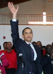 Barack Obama greeted supporters yesterday at the Pentecostal Temple Church of God in Christ in Las Vegas.