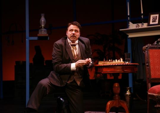 Tom Souhrada connects with the audience in 'Antoine Feval,' a one-man comedy at the Stoneham Theatre.