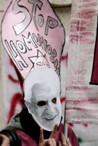 Protesters targeted Pope Benedict XVI yesterday at La Sapienza University before his visit was canceled. The school's rector called the move 'a defeat for the freedom of expression.'