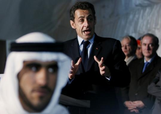'France responds to its friends,' President Nicolas Sarkozy of France said after signing a defense accord in Abu Dhabi.