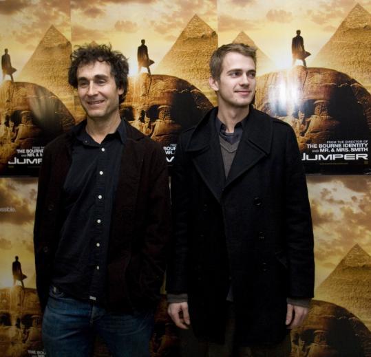 'Jumper' director Doug Liman (left) and star Hayden Christensen at MIT last night.