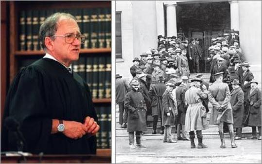 Judge Paul A. Chernoff (at left) during the trial of Dr. Dirk Greineder of Wellesley; above, a 1928 file photo shows a crowd gathered on the Norfolk Superior Court steps — where Chernoff was hurt in 2004 — for the Sacco and Vanzetti trial.