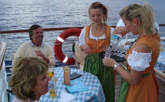The beer garden party on the last day of Europa's voyage to Monte Carlo included steins, schnapps, and oom-pa-pa band.