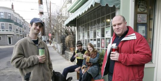 Dan Goldsbury and Joseph Porcelli (from left, front), shown with Cheryl Etu-Williams and Caleb Taylor Williams, want coffee drinkers to bring their own mugs to shops.