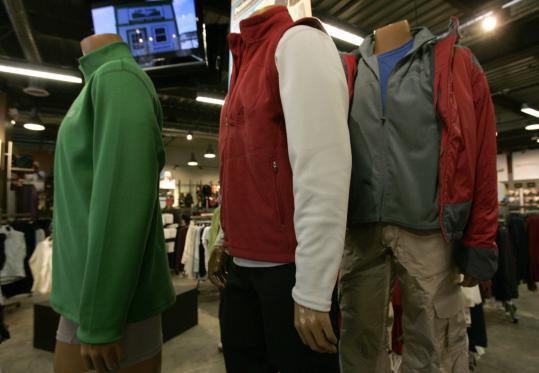 Outdoor wear at Eastern Mountain Sports offers such features as a fleece-insulating middle layer with an outer shell that resists the wind and rain. Much of the apparel combines natural and synthetic fibers.