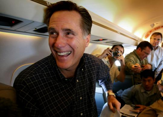 Republican presidential candidate Mitt Romney learned of his Nevada victory yesterday as he flew from Las Vegas to Jacksonville, Fla. He released details of a $233 billion economic stimulus plan during the flight.