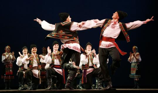 The Moiseyev Dance Company, seen here in New York, perform with technical excellence and high energy.