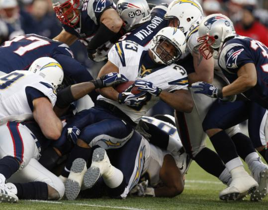 Running back Michael Turner and the Chargers ran into some stiff opposition yesterday.