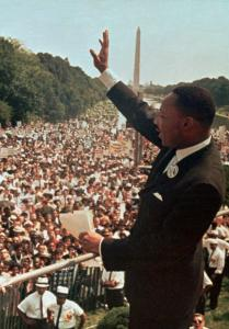 Martin Luther King Jr. waved to a crowd at the Lincoln Memorial for his 'I Have a Dream' speech during the March on Washington in August 1963. He was slain in 1968.