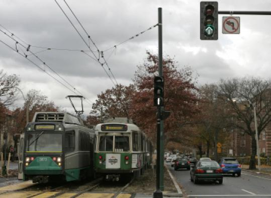 The MBTA is exploring giving Green Line trains priority at Beacon Street traffic lights.