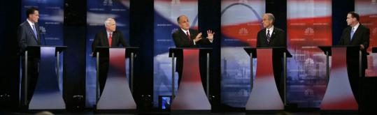 Republican presidential hopefuls Mitt Romney, John McCain, Rudy Giuliani, Ron Paul, and Mike Huckabee participated in a televised debate at Florida Atlantic University last night.