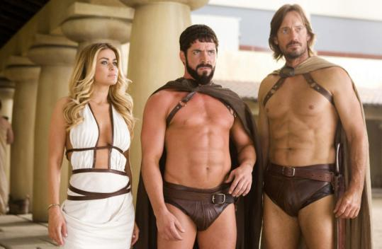 Carmen Electra, Sean Maguire (center), and Kevin Sorbo camp it up in the latest parody from the 'Scary Movie' crew.