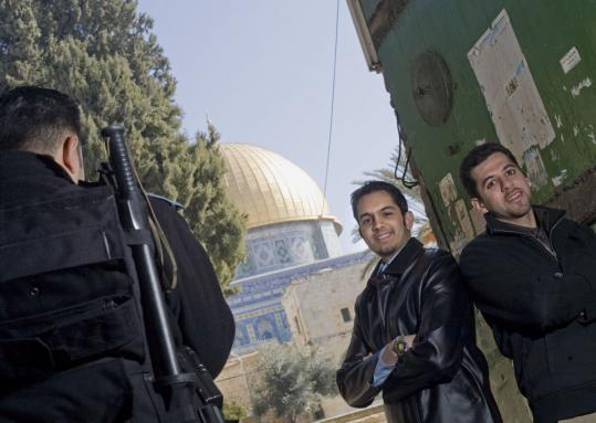 MIT students Rameez Qudsi (left) and Ibrahim Kanan, seen here in Jerusalem, were among seven students on a weeklong trip through the Middle East to raise awareness of the school.