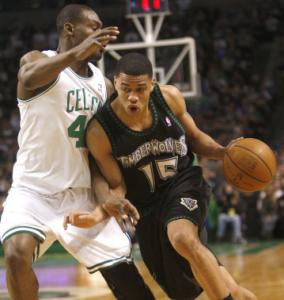 Former Celtic Gerald Green (9 points) drives past crrent Celtic Tony Allen.