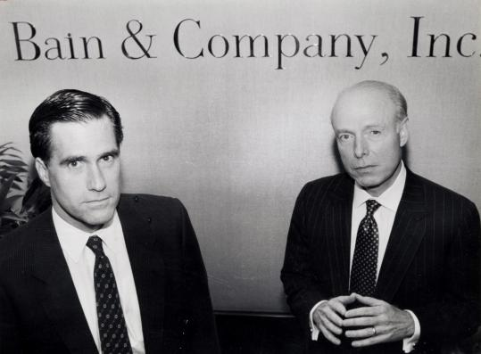 Mitt Romney with William Bain Jr. at Bain Capital's offices in 1990. A review of Bain's investments during Romney's tenure indicates that job growth was not a particular priority.