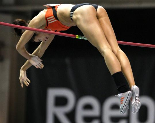 It was no indoor record, but Jenn Stuczynski clears the bar at 15 feet 1 inch to triumph in the women's pole vault.
