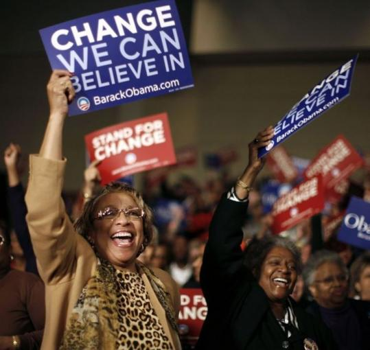 Supporters of Democratic presidential candidate Barack Obama rejoiced last night in Columbia, S.C.