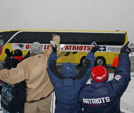 Patriots fans turned out in full force to give their team rousing sendoff yesterday at Gillette Stadium. The team faces the Giants in Super Bowl XLII Sunday.