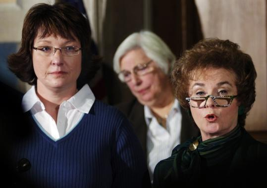 State Representative Jane Cunningham of Missouri (right) announced legislation at a news conference in Jefferson City, Mo., to eliminate statutes of limitation for sexual misconduct. At left, Amy Davis recalled being abused by a junior high instructor nearly 30 years a