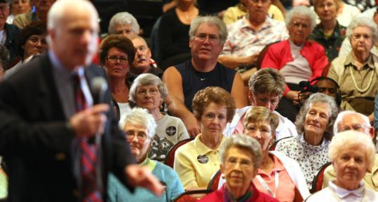 Supporters listened to Senator John McCain during a recent campaign stop in Sun City Center, Fla. Many voters who have come out to hear McCain say that they see one of their own.
