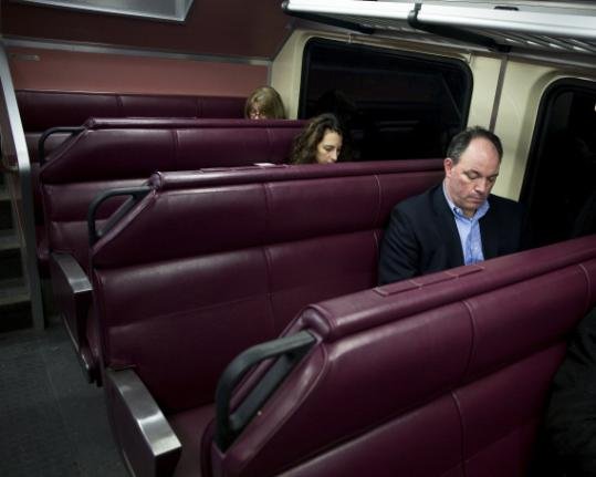 Riders on the Greenbush Line, including Craig Comins of Hingham, often find plenty of room to stretch during their commute.