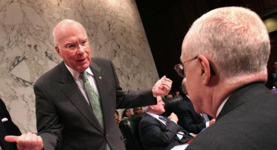 Senator Patrick Leahy of Vermont (left) spoke with Attorney General Michael Mukasey before a hearing yesterday.