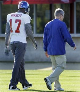 For the second straight day, Giants receiver Plaxico Burress missed practice because of an injury. Yesterday, he walked off the field because of swelling and soreness in his left knee.